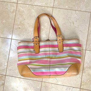 Authentic Coach Leather Heritage Stripe Diaper Bag
